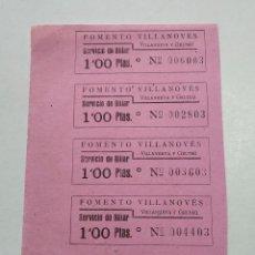 Cine: 5 ENTRADAS FOMENTO VILLANOVES - VILLANUEVA Y GELTRÚ (BARCELONA) - AÑOS 40, HOJA SIN CORTAR...L3689. Lote 248976705