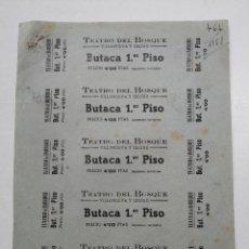 Cine: 5 ENTRADAS TEATRO DEL BOSQUE - VILLANUEVA Y GELTRÚ (BARCELONA) - AÑOS 40, HOJA SIN CORTAR...L3690. Lote 248977815