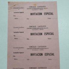 Cine: 4 INVITACIONES DEL CIRCULO CATOLICO - VILLANUEVA Y GELTRÚ - AÑOS 40, HOJA SIN CORTAR...L3691. Lote 248978240