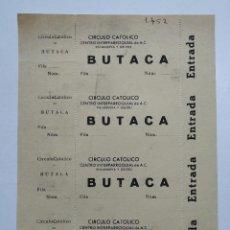 Cine: 4 ENTRADAS DEL CIRCULO CATOLICO - VILLANUEVA Y GELTRÚ - AÑOS 40, HOJA SIN CORTAR...L3692. Lote 248978730