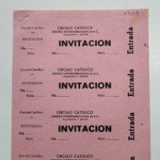 Cine: 4 INVITACIONES DEL CIRCULO CATOLICO - VILLANUEVA Y GELTRÚ - AÑOS 40, HOJA SIN CORTAR...L3694. Lote 248979940