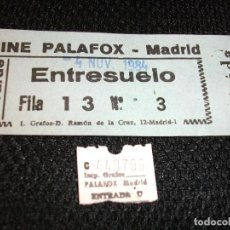 Cine: ENTRADA DE CINE PALAFOX DE MADRID - PELICULA INDIANA JONES Y EL TEMPLO MALDITO HARRISON FORD 1984. Lote 251130860