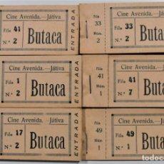 Cine: LOTE 6 TALONARIOS ANTIGUOS CINE AVENIDA DE JÁTIVA (ALICANTE) - CERCA DE 400 ENTRADAS SIN USAR. Lote 254532110