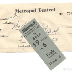 Cine: ENTRADA TEATRO METROPOL TEATRET DE COPENHAGEN Y SOBRE DE RESERVA AGOSTO 1966 ORIGINAL. Lote 255564415