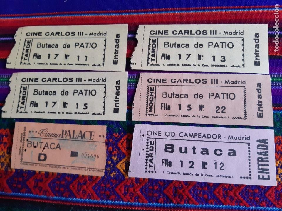 4 ENTRADA CINE CARLOS III, ENTRADA CID CAMPEADOR Y ENTRADA CINEMA PALACE DE MADRID. AÑOS 60. (Cine - Entradas)