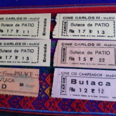 Cine: 5 ENTRADA CINE CARLOS III 2 CID CAMPEADOR CINEMA PALACE CONSULADO ALBÉNIZ DE MADRID. AÑOS 60-70-80.. Lote 256165155