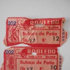 Cine: CINE ROBLEDO. GIJON. 2 ENTRADAS BUTACA DE PATIO.. Lote 266225928