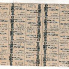 Cinéma: LOTE DE 25 ENTRADAS ESPECTACULO HOUDINI Y EL TANKE HUMANO. SUPREMA. 1919- MUY RARO. Lote 269240613