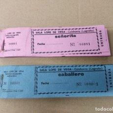 Cine: DOS TALONARIOS DE ENTRADAS DE CINE. CALAHORRA LA RIOJA.SALA LOPE DE VEGA.. Lote 269935098
