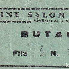Cinéma: ENTRADA DE CINE SALON TEATRO MIRAFLORES DE LA SIERRA. MADRID 1966. Lote 270924013