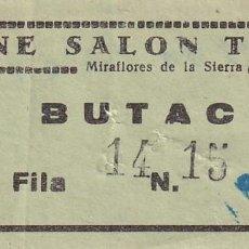 Cinéma: ENTRADA DE CINE SALON TEATRO MIRAFLORES DE LA SIERRA. MADRID 1966. Lote 270924178