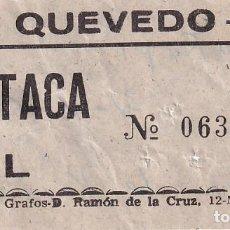 Cinéma: ENTRADA CINE QUEVEDO MADRID1966. Lote 270934573