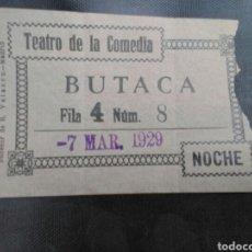 Cinéma: ENTRADA TEATRO DE LA COMEDIA MADRID 1929. Lote 272976563