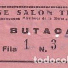 Cine: ENTRADA DE CINE SALON TEATRO MIRAFLORES DE LA SIERRA. MADRID 1966. Lote 275738923