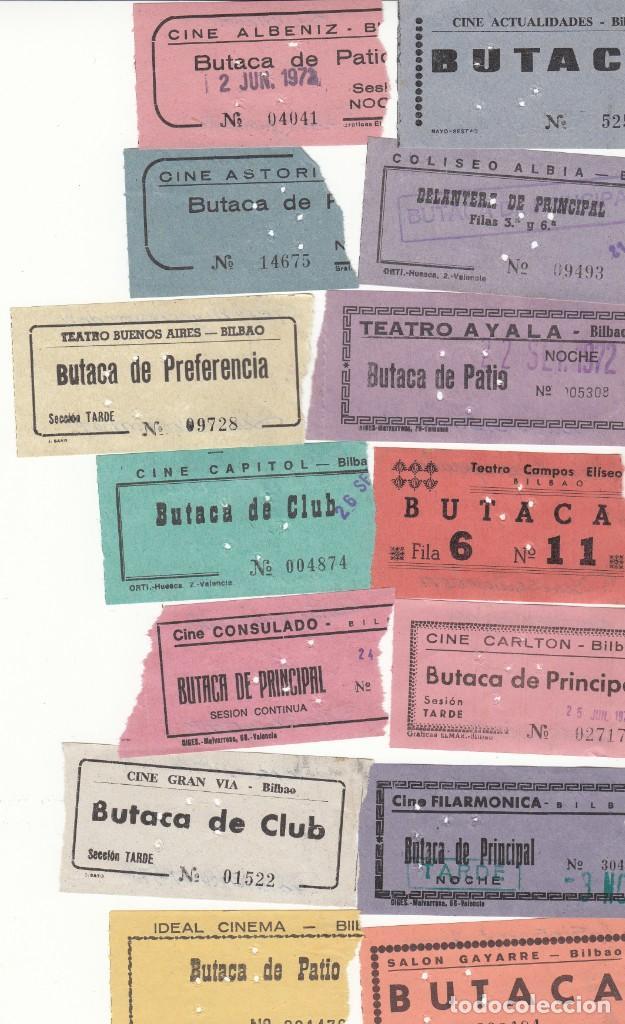 19 ENTRADAS DE CINES DE BILBAO AÑO 1972 / REVERSO CON FECHA Y PELICULA A MANO (Cine - Entradas)