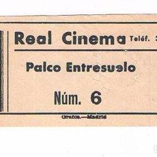 Cine: ENTRADA CINE ANTIGUO REAL CINEMA. Lote 279457148