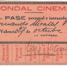 Cinema: VALENCIA 1934 CONDAL CINEMA PASE PERSONAL.. Lote 286460443