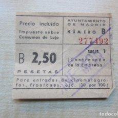 Cinema: ENTRADA DE CINE MONTERA MADRID AÑOS 40-50. Lote 292053968