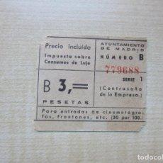 Cinema: ENTRADA DE CINE MONTERA MADRID 3 PTS AÑOS 40-50. Lote 292054763
