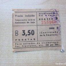 Cinema: ENTRADA DE CINE MONTERA MADRID 3,50 PTS AÑOS 40-50. Lote 292055548