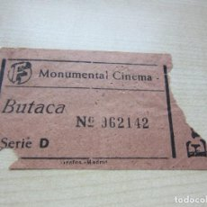 Cinema: ENTRADA MONUMENTAL CINEMA DE MADRID AÑOS 40. Lote 292067593