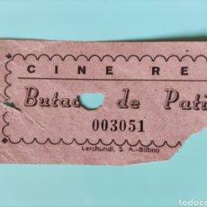 Cine: ANTIGUA ENTRADA CINE REX- BUTACA DE PATIO- BILBAO. Lote 295824223