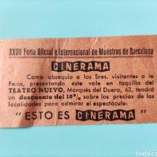 Cine: TICKET O ENTRADA XXVII FERIA OFICIAL E INTERNACIONAL DE MUESTRAS DE BARCELONA- CINERAMA. Lote 295831468