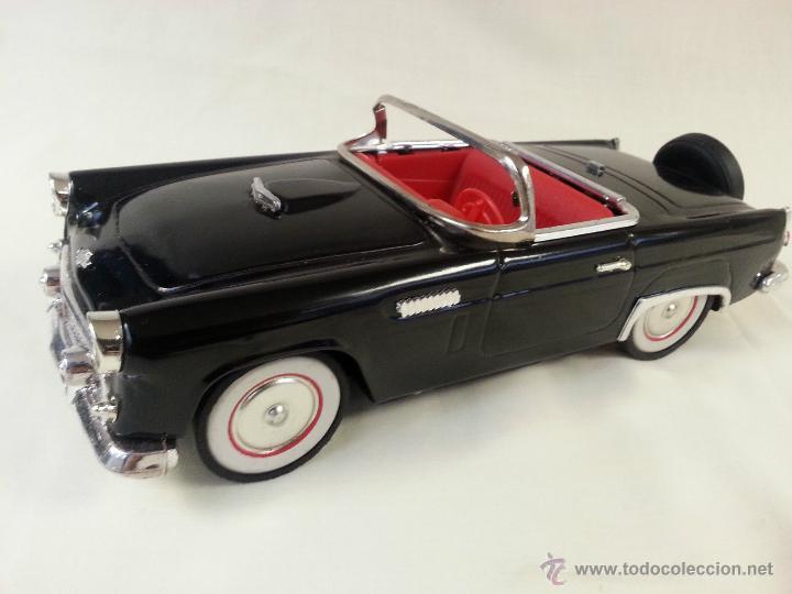 Coches a escala: MAGNIFICO Y ESCASO Negro ford Thunderbird Convertible 1955 fricción de hojalata juguete coche 28 cm - Foto 5 - 52835057