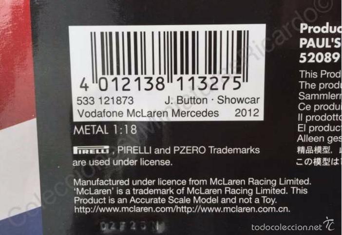 Coches a escala: Coche VODAFONE MCLAREN MERCEDES Showcar 1:18 - JENSON BUTTON - F1 Fórmula 1 - Minichamps 533 121873 - Foto 5 - 58067506