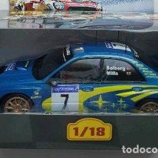 Coches a escala: SUBARU IMPREZA WRC 2003 - P. SOLBERG / MILLS (1:18) RALLY DE FRANCE, TOUR DE CORSE. IXO. Lote 115260251