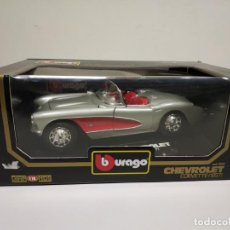Coches a escala: J- COCHE CHEVROLET CORVETTE 1957 METAL DIAMONDS BURAGO ESC 1/18 NUEVO. Lote 144000238