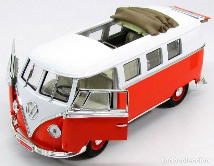 Coches a escala: Volkswagen T1 Microbus techo plegable 1962 escala 1/18 de Lucky Die Cast - Foto 8 - 194687078