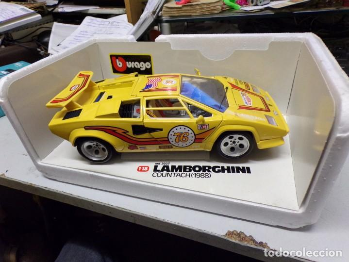 Coches a escala: coche burago escala 1/18 lamborghini countach 1988 con su caja - Foto 6 - 256073945