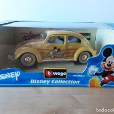 Coches a escala: COCHE DISNEY COLLECTION BURAGO 1/18.VOLKSWAGEN BEETLE MICKEY.NUEVO.. Lote 216366527