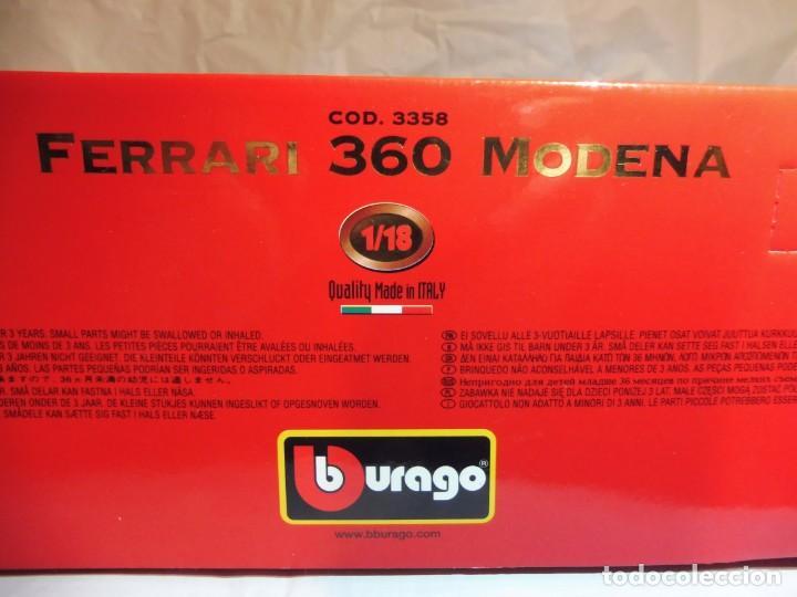 Coches a escala: Burago 1/18 Ferrari 360 Modena (1999) cod. 3358 en caja - Foto 6 - 241694295