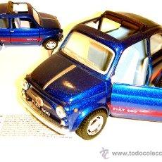 Coches a escala: KINSMART FIAT 500 DIE CAST AZUL DESCAPOTABLE A 1/24 !!!. Lote 11528134