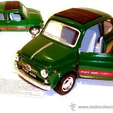 Coches a escala: KINSMART FIAT 500 DIE CAST VERDE CUBIERTO A 1/24 RAROOO. Lote 11528144