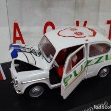 Coches a escala: COCHE 600 D 1960 ESCALA 1/24-1:24 LEO MODELS FIAT METAL MODEL CAR ACTV PUZZLE. Lote 199139183