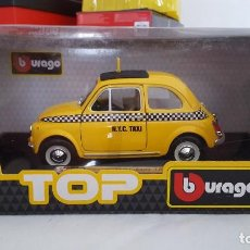 Coches a escala: BURAGO FIAT 500 TAXI ESCALA 1:24, NUEVO EN SU CAJA. Lote 232600050