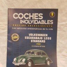 Coches a escala: VOLKSWAGEN ESCARABAJO 1200 STANDARD 1960 Y LIBRO COCHES INOLVIDABLES. Lote 266554143