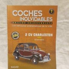 Coches a escala: 2 CV CHARLESTON AÑO 1982 Y LIBRO COCHES INOLVIDABLES. Lote 266557353