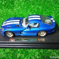 Coches a escala: COCHE DODGE VIPER GTS COUPÉ 1996 BURAGO ESC 1/24 MADE IN ITALIA. Lote 292618828
