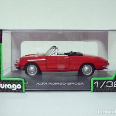 Coches a escala: ALFA ROMEO SPIDER 1966 - BURAGO BBURAGO CLASSIC ESCALA 1:32 - DESCAPOTABLE COCHE AUTOMÓVIL ROJO. Lote 95772535
