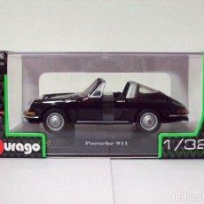 Coches a escala: PORSCHE 911 1967 NEGRO - BURAGO BBURAGO CLASSIC ESCALA 1:32 - DESCAPOTABLE COCHE AUTOMÓVIL CABRIO. Lote 96024075