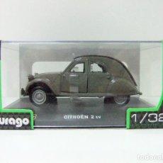 Coches a escala: CITROEN 2CV 1952 - BURAGO BBURAGO CLASSIC ESCALA 1:32 - COCHE 2 CV AUTOMÓVIL GRIS. Lote 107518143