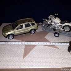 Coches a escala: BMW X5 CON REMOLQUE Y MOTO BMW DE WELLY ESCALA 1/32. Lote 114734976