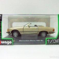 Coches a escala: MERCEDES BENZ 450 SL 1977 - BURAGO BBURAGO CLASSIC ESCALA 1:32 - DESCAPOTABLE COCHE AUTOMÓVIL. Lote 138569750