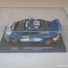 Carros em escala: BURAGO 1/32 2006 OMV PEUGEOT NORWAY WORLD RALLY TEAM MANFRED STOHL MONTECARLO CAR 1:32. Lote 208392260