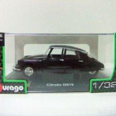 Coches a escala: CITROEN DS19 1957 - BURAGO BBURAGO CLASSIC ESCALA 1:32 - COCHE AUTO NEGRO DS 19 TIBURON. Lote 215117667