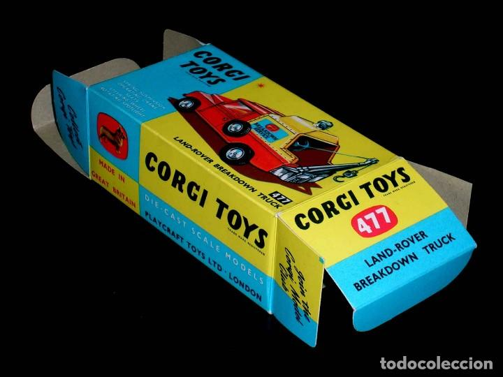 Coches a escala: Caja vacía empty box Land Rover Breakdown truck nº 477, esc. 1/43, Corgi Toys. Original años 60. - Foto 3 - 87429572